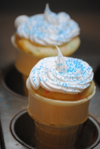 These ice cream cone cupcakes were super simple, just cake mix in a cone!