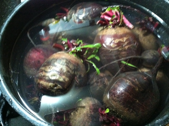A big 'ol bucket of beets. The last of our garden fare. Ready to hit the freezer.