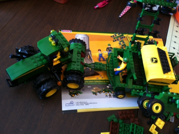 The tractor and seeder together. I can't believe I spent this amount of time on this! LOL!
