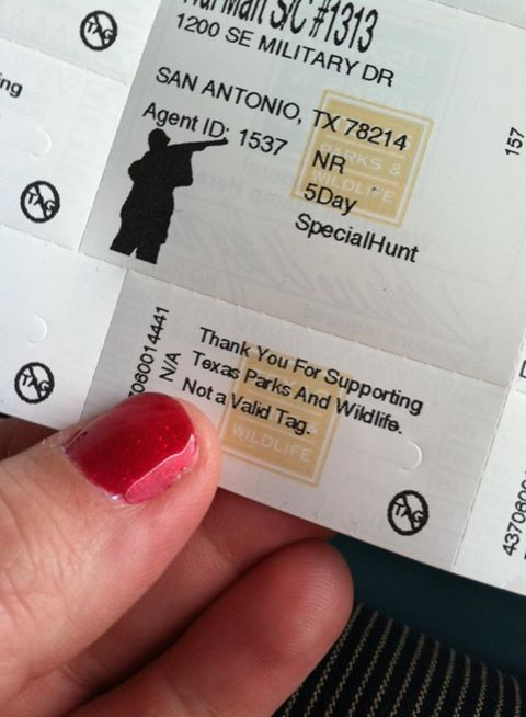This was my special tag for hunting hogs in Texas. Really. Truly. I didn't think it would happen.