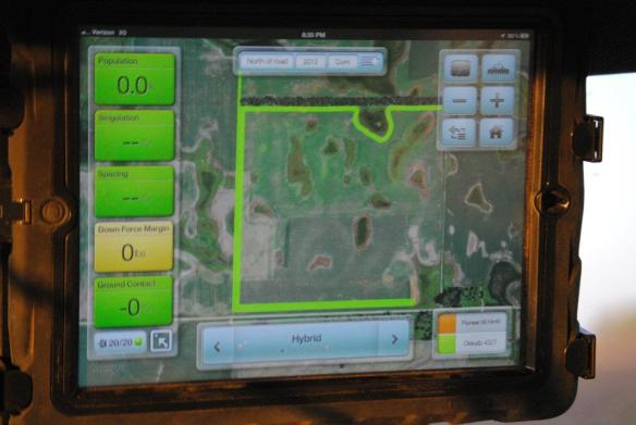 An iPad in the tractor cab, connected to the planter. Yes, technology can bring great improvements to efficiency!