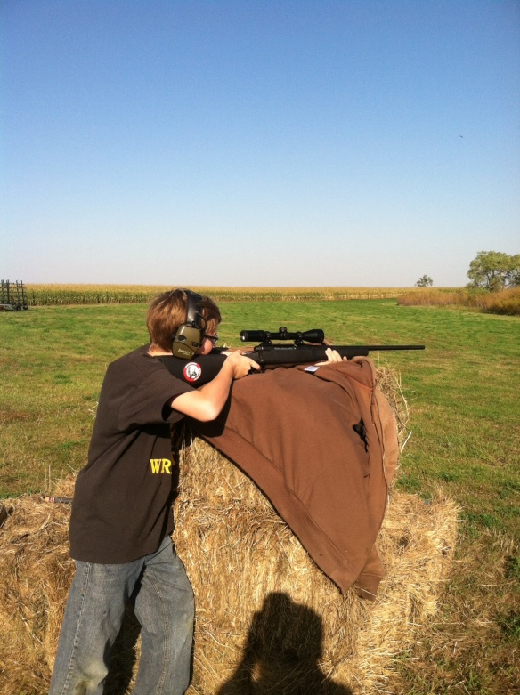 Big Bro passed his Hunter's Safety test this summer, which means this fall was his first year deer hunting. I bought him his own .243, along with hearing protection, and he had a great few days in the field - even though the amount of crop standing didn't help us out.