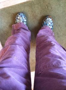 Purple coveralls and blue polka-dot Bogs. I don't have to worry about one of my boys stealing my cold-weather gear.
